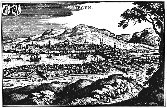 Scholeus sitt stikk av Bergen frå ca 1580. Til venstre i biletet ser me Håkonshallen og resten av Bergenhus festning.
