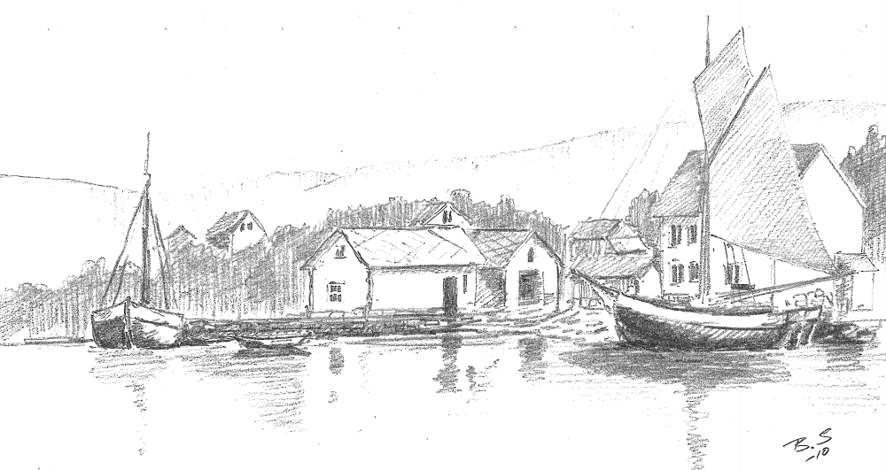 Frakteskuter på Sollesnes klare til å lasta ombord heller. Den store veksten i byane på Vestlandet  utgjorde ein stor og viktig marknad for eigarane i Helleurda.  (teikning Bård Sandven)
