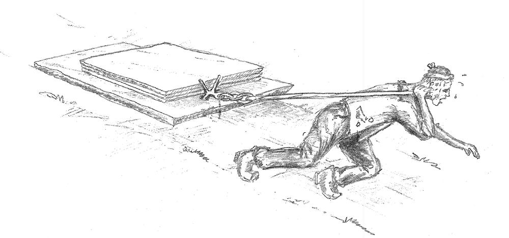 Alt arbeid og all transport i Helleurda gjekk føre seg med handemakt. Hellelader vart dregne langs steinlagde sleper heilt til sjøs. Det kunne vera eit slit. Var det vått og glatt, var det slett ikkje ufårleg heller. (teikning Bård Sandven)