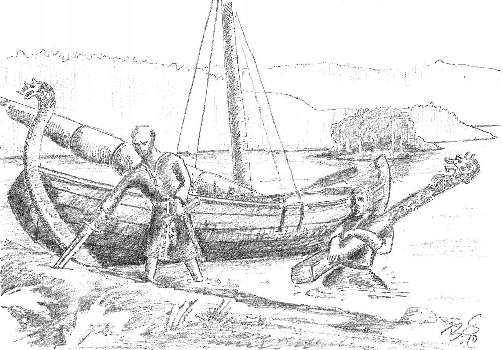 Slik ser teiknar Bård Sandven for seg landnåmet på Sandven,  då Peter Unge kom for å slå seg til der i det herrens år 1225.