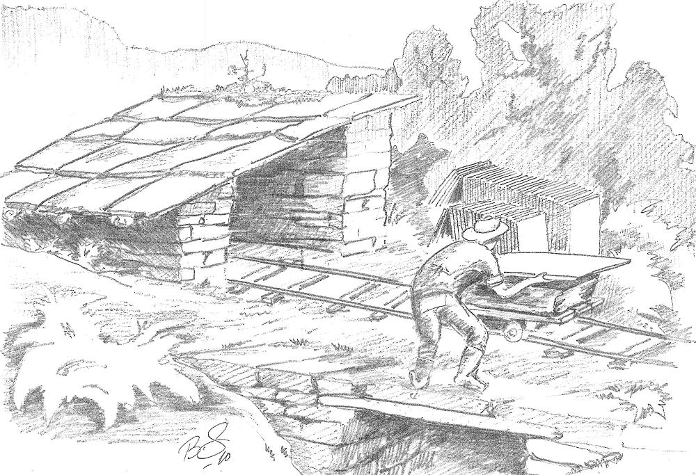 """På 1800-talet la dei skjener somme stader, for å letta transporten, og sette seg opp  """"skantebuer"""" slik at dei kunne stå turt å arbeida.  (Teikning Bård Sandven)"""